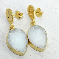 Pear Shape Natural White Agate Druzy 24k Gold Plated Drop