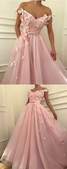 Pretty pink tulle long prom dresses v-neck off the shoulder evening gowns with flowers beaded