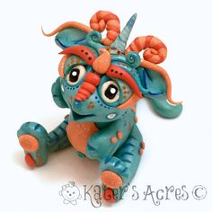 Polymer Clay Dragon 'FrostFire' Limited Edition by KatersAcres