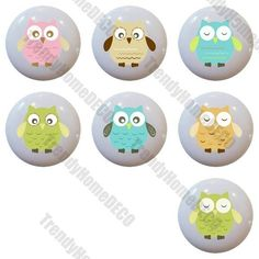 set of 7 WHIMSICAL OWLS Nursery Ceramic Knobs Pulls Closet Drawer Dresser 1101 #Trendyhomedeco