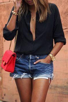 Black Casual Button Down Long Sleeve Loose Shirt