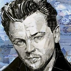 "Leonardo Di Caprio (detail) 8"" x 16"" collage on paper © 2017 Lisa Soderlund Private Collection . . #collage #artistsofinstagram…"