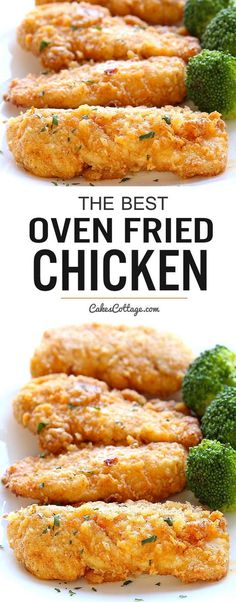 The best oven fried chicken - Crispy on the outside and tender on the inside and baked right in the oven for easy cleanup.