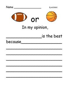 Opinion Writing: Sports - 6 pages - $