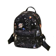 Fashion Star Universe Space Printing Backpack Black School Bags For Teenage Girls