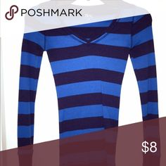 Blue Striped Tee This long sleeved Blue Striped Teecomes in size extra small and is in PERFECT condition. Hugs to your every curve!  SO Tops Tees - Long Sleeve
