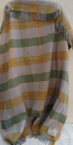 Vintage Lambswool Check Travel Utility Rug Made In Scotland Johnstons Of Elgin
