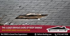 Signs of roof damage, such as leaks and wet spots, are typically quite obvious and easy to spot. But what about the less obvious signs? ...Read more: http://bit.ly/2IVKVuf  #RoofingServicesinHouston #RoofInstallers #RoofRepair #RoofReplacement #HomeRoofingContractor #RoofingMaintenance #HomeRoofRepairs #CommercialRoofing #MetalRoofing #Roofingrepair