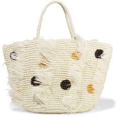 Sensi Studio Sensi Studio - Frayed Polka-dot Woven Toquilla Straw Tote... ($145) ❤ liked on Polyvore featuring bags, handbags, tote bags, white tote bag, straw tote, straw handbags, tote handbags and white purse
