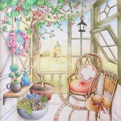 """395 Likes, 17 Comments - @helenscolouring on Instagram: """"Always wanted a sunny and airy porch like this❤️ #井田千秋 #憧れのお部屋 #adultcoloring #adultcoloringbook…"""""""