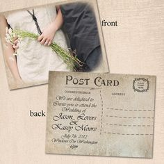 Wedding Invitation Post Card 5x7 Wedding invitation the Eliana