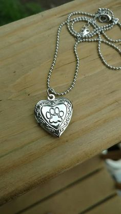 Silver Paw Print Locket Necklace Vintage Inspired Heart Charm Fashion Jewelry
