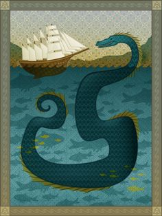 Nessie Loch Ness Monster sea serpent tall ship Karianne Hutchinson illustration vector ocean sea creature art