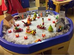 In our tuff spot tray we have put fake snow felt, some wooden buildings from Tts and some Christmas Happyland playsets. We have added poundl. Christmas Fair Ideas, Christmas Planning, Christmas Activities For Kids, Preschool Christmas, Toddler Christmas, Winter Christmas, Christmas 2017, Nursery Activities, Eyfs Activities