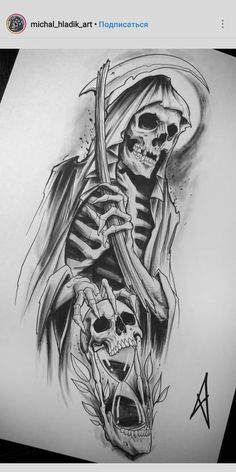 Drawings of the Holy Death - diy tattoo images Drawings of the Holy Death Drawings of holy death, diy tattoo images - tattoo images drawings - tattoo images women - tattoo images vintage - tattoo images ideas - tattoo images men - tattoo images sy Evil Skull Tattoo, Evil Tattoos, Skull Sleeve Tattoos, Grim Reaper Tattoo, Tattoo Sleeve Designs, Body Art Tattoos, Grim Reaper Drawings, Pirate Skull Tattoos, Urban Tattoos