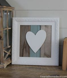 Reclaimed wood turquoise heart sign by start at home decor | farmhouse decor | chippy | Barn Wood #woodworkathome #homedecoraccessories