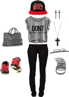 """For girls who aint afraid to wear Jordans ."" by laylahood on Polyvore"