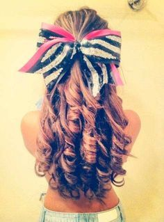 super tight curls and cute cheer bow