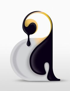 Penguin  Created by Steven Bonner, it depicts a slobbering penguin formed from a double storey lowercase letter 'a'.