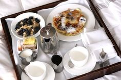 Breakfast in bed. Going to do this for my hubby soon . . . May even give him some dessert after if he's really good lol!