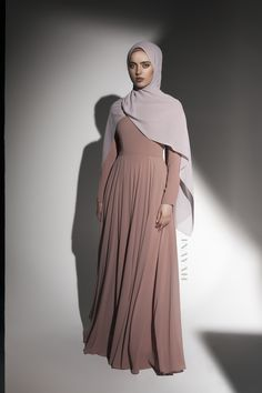 INAYAH   Channelling uncomplicated splendor. Dusty Pink Arya #Gown + Washed Lilac Grey Soft Crepe #Hijab - www.inayah.co