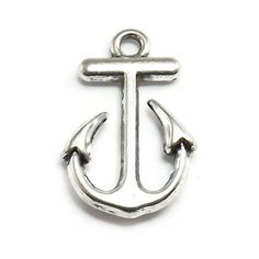 8 Anchor Charms silver tone metal nautical by OliviaMadisonCompany (Craft Supplies & Tools, Jewelry & Beading Supplies, Charms, charm, silver charms, metal charms, charm bracelet, antique silvertone, olivia madison, anchor charm, nautical charm, boating charm, sailboat charm, sailing charm, yachting charm, silver anchor charm)