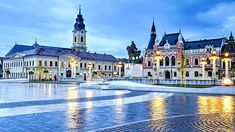 Union square (Piata Unirii) seen at the blue hour in Oradea, Romania © Catalin Lazar / Shutterstock Fly Around The World, Around The Worlds, Capital Of Romania, 1. Mai, Visit Romania, Romania Travel, Most Beautiful Cities, Eastern Europe, Glasgow