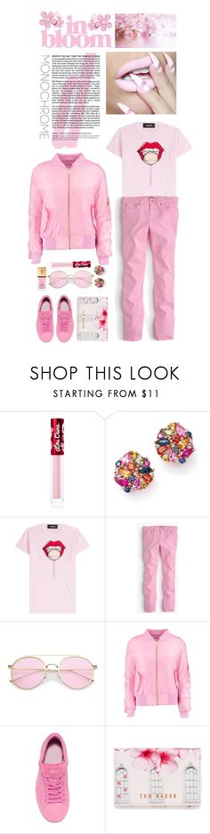 """""""Color Me Pretty: Head-to-Toe Pink"""" by shortyluv718 ❤ liked on Polyvore featuring Lime Crime, Bloomingdale's, Dsquared2, J.Crew, Boohoo, Puma, Ted Baker, Yves Saint Laurent and monochromepink"""