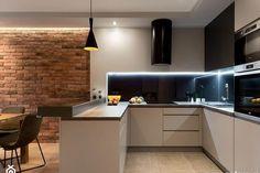Dom w Rudzie Śląskiej - Realizacja - Duża otwarta kuchnia . Interior Design Business, Interior Design Kitchen, Living Room Kitchen, Kitchen Decor, Sweet Home, Minimalist House Design, Contemporary Kitchen Design, Best Kitchen Designs, Home Room Design