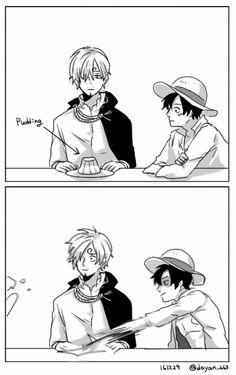 Ha, took me a sec but I get it :) One Piece, Strawhat Pirates, Luffy, Sanji