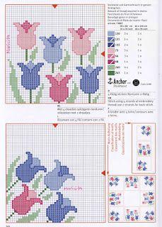 Ponto cruz: Flores Tulipas gráficos ponto cruz!