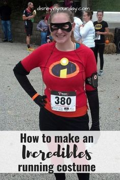 DIY Incredibles Halloween costumes - feel like a super hero during your next race with this Incredibles costume! Easy to put together and comfortable for running. Disney in your Day #running #disneycostumes #rundisney #disneyrunning #disneyruncostumes #runningcostumes #incredibles #disneyinyourday