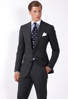 Pin-stripped black suit - ... Ralph Lauren brand is a good example of preppy high class clothing