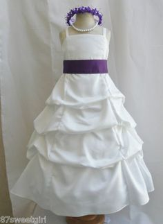 SPU Ivory Lapis Purple Wedding Party Recital Gown Pageant Flower Girl Dress | eBay