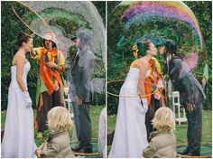bubble wedding kiss
