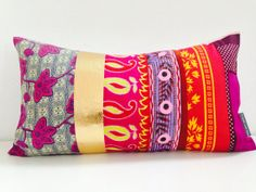 A She[s] Happy Design Original on Etsy. Decorative African Kanga Fabric Pillow Cover 13 x 24.  Bright, Bold, Beautiful and Boho!
