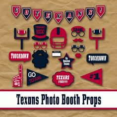 Houston Texans Football Photo Booth Props and Party Decorations