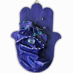 3D wall sculpted hamsa # 203 H - gorgeous hand painted shades of blues for the colors of Israel Independence Day