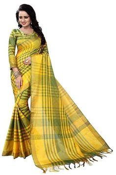 Yellow Color Cotton Saree - 76004