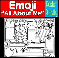 All About Me Emoji: Back to School Emoji Back To School Art, 1st Day Of School, Beginning Of School, New Classroom, Classroom Themes, Classroom Activities, Fun Writing Activities, Back To School Activities, All About Me Poster