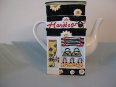 """Back of the Bank! MSRF Inc.Neighborhood Storefronts Two Sided 6 1/2"""" Tall Ceramic Tea Pot"""