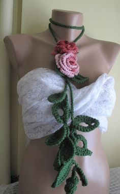 Crocheted,pink tones flowers.lariat