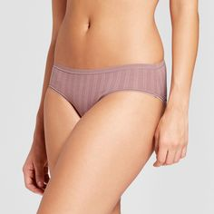 Women's Cotton Bikini Brown Rose Stripe - XS