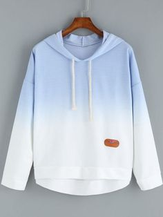 Blue Ombre Hooded Dip Hem Sweatshirt Mobile Site
