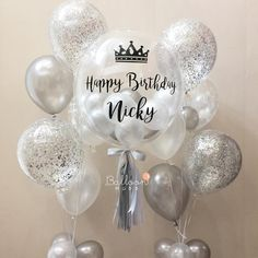 Bubble balloon with sticker silver balloons 18th Birthday Party, Birthday Favors, Happy Birthday, Birthday Balloon Decorations, Birthday Balloons, Balloon Flowers, Balloon Bouquet, Lorie, Personalized Balloons