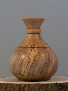 "Hand-turned Wooden Vase  M12 by Stumpdust on Etsy. A curvaceous vase made from salvaged, spalted maple measuring 5""h x 3.5""d. This vase contains a removable floral tube that can be filled with water for live arrangements or the vase can be left empty as a small sculpture.   Beautiful attention to detail with decorative accents yet allowing the exceptional grain to shine .$55"