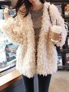 Trendy Collarless Long Sleeve Faux Lambswool Women's Coat