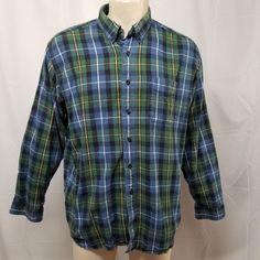 96feba6c LL BEAN Blue Green Yellow Plaid Flannel Shirt 100% Cotton Mens XL REG  Grunge 90s #LLBean #ButtonFront