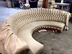 This is one of our favorite pieces to come through our shop. We believe it is because it was so interesting to watch it take form and t… Upscale Furniture, Basement Furniture, Sofa Design, Wooden Sofa Set Designs, Unique Sofas, Round Sofa, Booth Seating, Diy Sofa, Sofa Bed