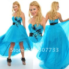 Free shipping cost wholesale sweetheart light blue organza short front long back prom dress with hand made flower-in Evening Dresses from Apparel & Accessories on Aliexpress.com